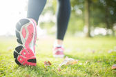 Close up picture of pink sole from running shoe — Stock Photo