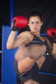 Ziemlich Boxerin ausführen einen Luft-Kick in den ring — Stockfoto