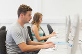 Two serious students working on computer individually — Stock Photo