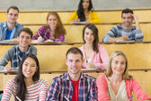 Smiling students sitting at the lecture hall — Stock Photo