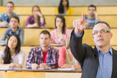 Elegant teacher and students at the college lecture hall — Stock Photo
