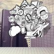 Drawn illustration on cityscape background — Stock Photo
