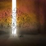 Light bulb tree in dark room — Stock Photo