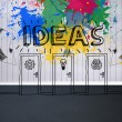 Colourful idea graphic in empty room — 图库照片