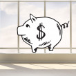 Piggy bank in bright room — Stock Photo