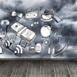 Graphics on wall with stormy sky — Stockfoto