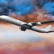 3D plane flying in colorful sky — Stock Photo #36244503