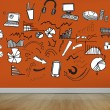 Drawn graphics on orange wall — Stock Photo