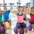 Class exercising with dumbbells on fitness balls — Stock Photo #36245939