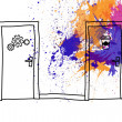 Two doors over splashes — Stockfoto