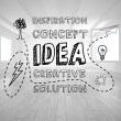 Idea graphic in bright room — Stock Photo
