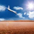 3D plane flying over field — Stock Photo