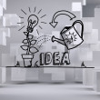 Growing idea graphic in grey room with cubes — Stock Photo #36246967