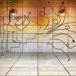 Drawn man climbing stairs in 3d room — Stock Photo