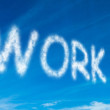 Work written in white in sky — Stock Photo
