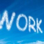 Work written in white in sky — Stock Photo