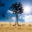 Idea tree graphic over countryside — Stock Photo