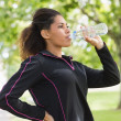 Tired healthy woman drinking water in the park — Stock Photo