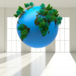 Digitally generated globe floating — Stock Photo