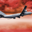 3D plane flying in red sky — Stock Photo #36248409