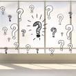 Question marks in bright room — Stock Photo