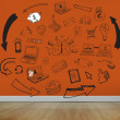 Drawn graphics on orange wall — Stock Photo #36249183