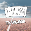 Teamwork written over running track — Stockfoto