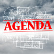 Agenda stamped over words written on sky background — Stock Photo