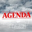 Agenda stamped over words written on sky background — Stock Photo #36249471