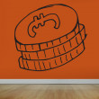 Drawn coins on orange wall — Stock Photo