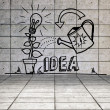 Growing idea graphic in grey room — Stock Photo