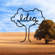 Stock Photo: Idea tree over countryside