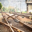 Railroad metal track with track bed — ストック写真