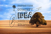 Idea graphic over countryside — Stok fotoğraf