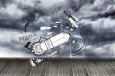 Pencil rocket on wall with stormy sky — Stock Photo