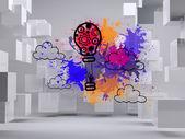 Hete luchtballon op de achtergrond met kubussen — Stockfoto