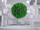 Green natural ball floating between cubes — Stock Photo