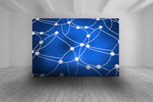 White room with blue picture of dots and lines — Stock Photo