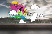Raketa myšlenka grafické pozadí krajiny — Stock fotografie