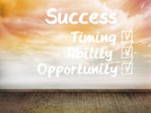 Success plan written on wall with sky — Stock Photo