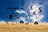 Business graphics over countryside — Stock Photo