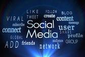 Social media words on black background — Stock Photo
