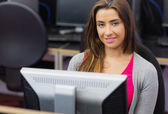 Female student in the computer room — Stock Photo