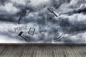 Graphic on wall with stormy sky — Stock Photo