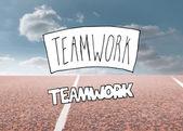 Teamwork written over running track — Stock Photo