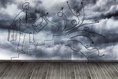Comic man on wall with stormy sky — Stock Photo
