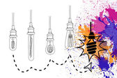 Light bulbs over splashes — 图库照片