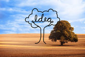 Idea tree over countryside — Stok fotoğraf