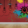 Light bulbs on red wall — Stockfoto