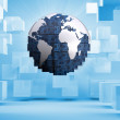 Digital globe on blue background with cubes — Stock Photo